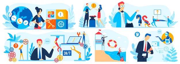 Customer support assistant online service vector illustration set, cartoon flat virtual online technical assistance collection