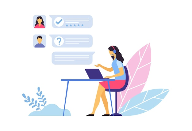 고객 지원. 콜센터 교환원은 노트북을 들고 책상에 앉아 클라이언트와 채팅을 합니다. 질문 및 요청에 응답하는 여성 에이전트, 지원 벡터 일러스트레이션 제공
