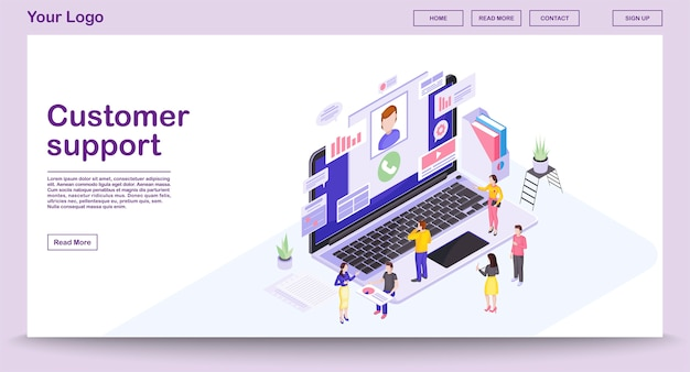 Customer support center webpage template with isometric illustration