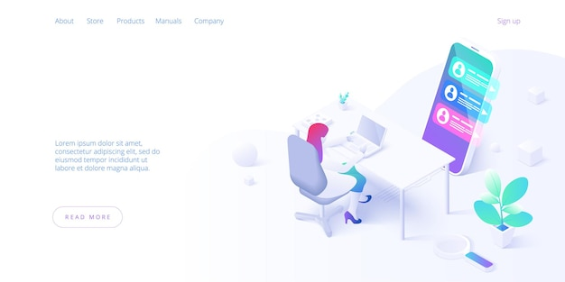 Изометрическая целевая страница концепции поддержки клиентов