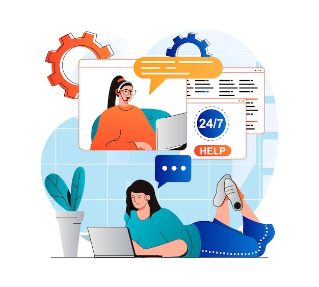 Customer support concept in modern flat design woman contacted support and consults in chat