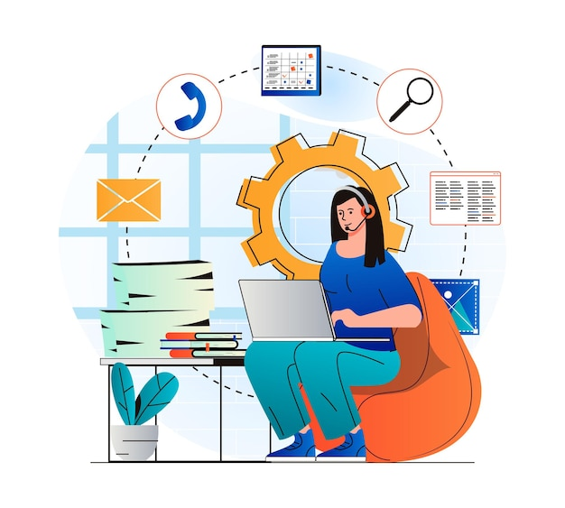 Customer support concept in modern flat design woman in headset works at laptop
