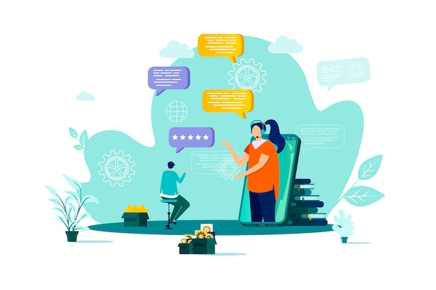 Customer support concept in  style with people characters in situation
