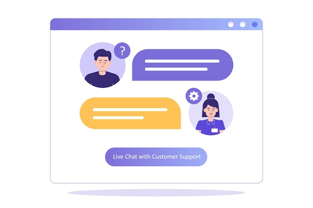 Customer support concept with woman at support department advises customer on live chat
