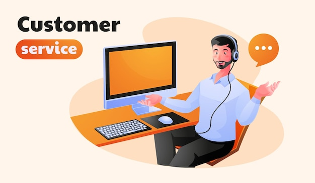 Customer support executive working in office