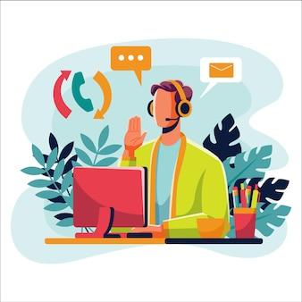 Customer support illustration flat design