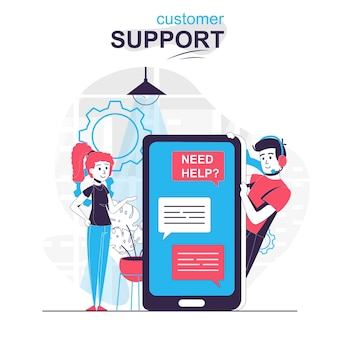 Customer support isolated cartoon concept woman writes chatting with tech support operator
