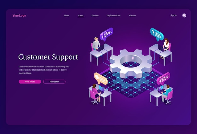 Customer support isometric landing page