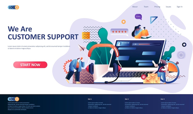 Customer support  landing page template  illustration