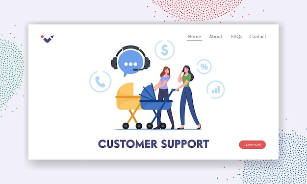 Customer support landing page template. young women walking with baby strollers call to telemarketing store for ordering goods. female characters distant shopping. cartoon people vector illustration