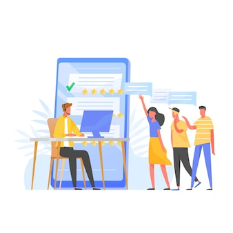 Менеджер службы поддержки, онлайн-консультант, специалист колл-центра в наушниках сидит за компьютером, пятизвездочный рейтинг и группа клиентов, стоящих в очереди. плоский красочный