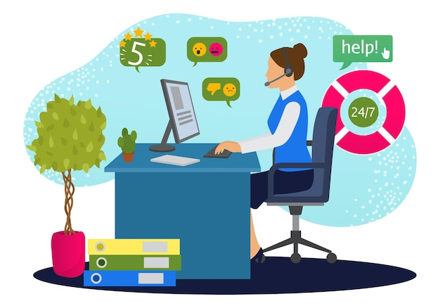 Customer support online service, vector illustration. operator woman character get call in office, assistant help people by phone.