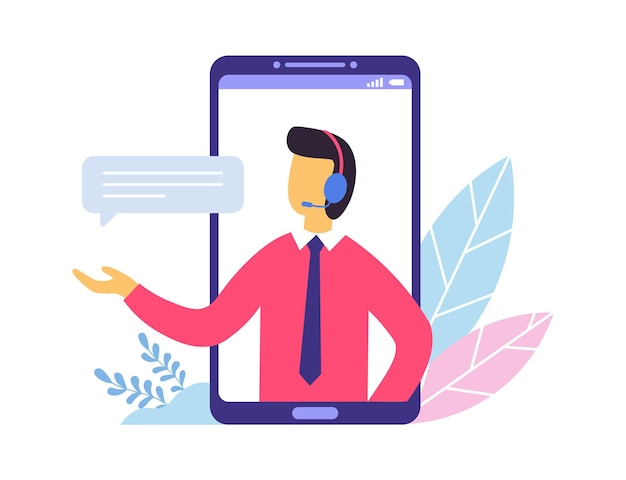 Customer support. person advisor and helpful advice services. man providing personal assistance to clients from smartphone screen. operator in headphones with bubble speech vector illustration