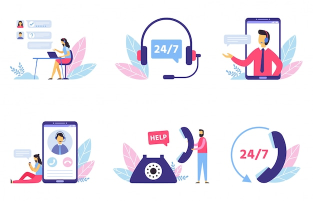 Customer support. personal assistant service, person advisor and helpful advice services flat  illustration set