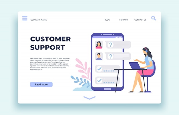 Customer support. personal assistant, technical support operator help clients in chat on smartphone screen landing page  illustration