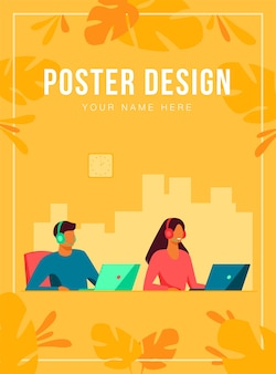 Customer support representatives working in call center poster template