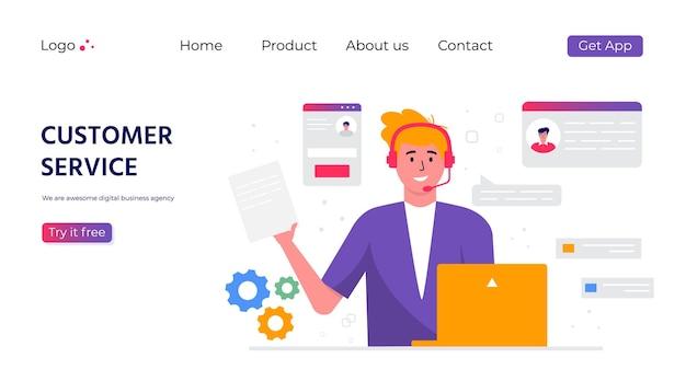 Целевая страница службы поддержки клиентов. концепция с женщиной с наушниками и микрофоном с ноутбуком. деловая тема и цифровая связь для помощи, call-центр. модный вектор