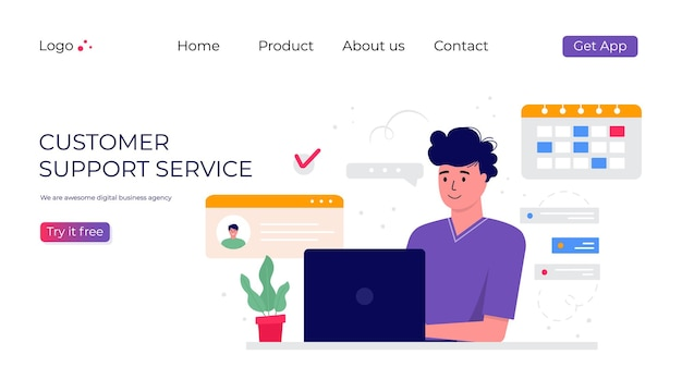 Customer support service landing page. concept with woman with headphones and microphone with laptop. business topic and digital communication for assistance, call center. trendy vector