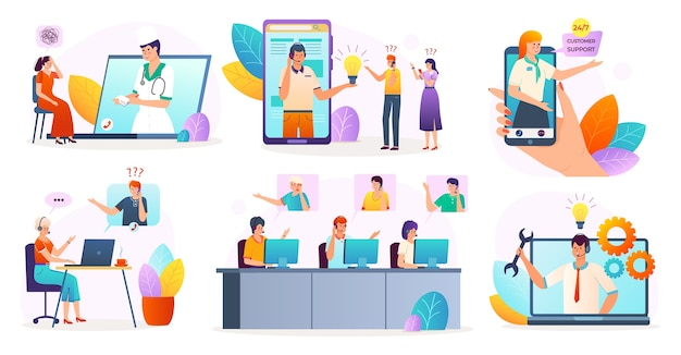 Customer support service online set of isolated on white illustrations