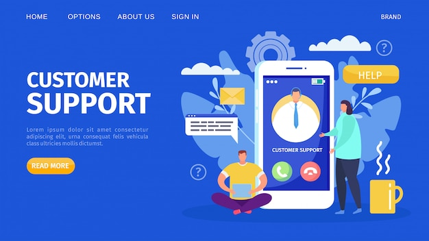 Customer support service at phone, business call  illustration. web call and chat, internet help assistant character.