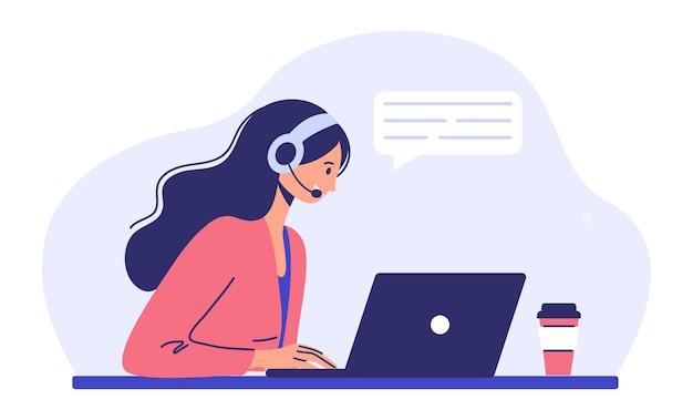 고객 지원 서비스 헤드폰과 마이크를 가진 여성이 노트북에 앉아 있습니다.