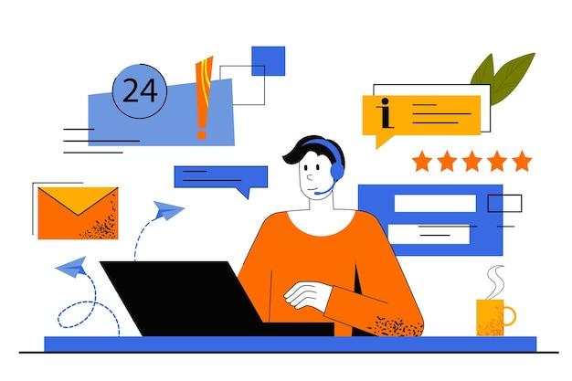 고객 지원 웹 개념. 핫라인 교환 원은 고객의 전화에 응답하고 조언합니다. 남자는 기술 지원에서 일하고 온라인으로 문제를 해결합니다.