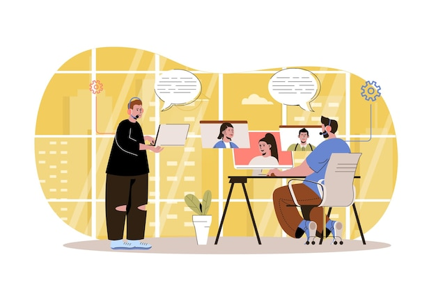 Customer support web concept technical support service operators take calls and answer