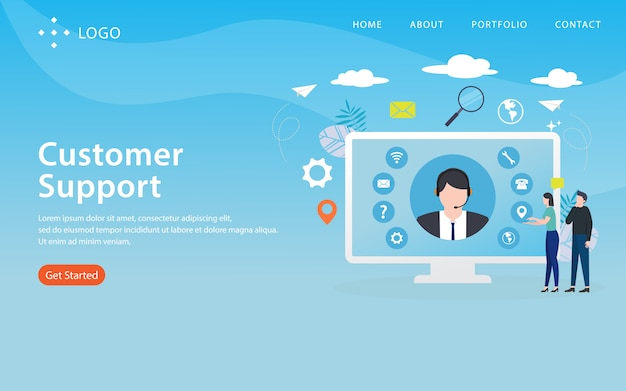 Customer support, website template,  layered, easy to edit and customize, illustration concept
