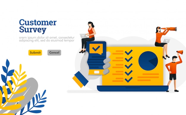 Customer survey apps with hands holding a smartphone illustration concept