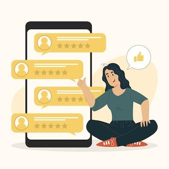Customer survey concept customer feedback people rating with stars illustration