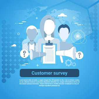 Customer survey web banner with copy space