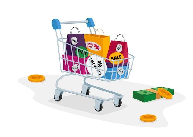 Тележка для покупок, полная разноцветных сумок для покупок