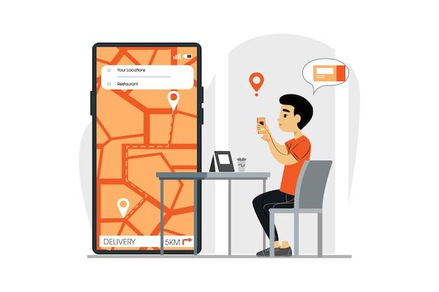 注文の配達を追跡するためにモバイルアプリを使用している顧客