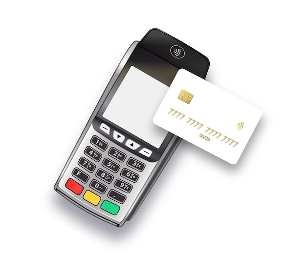 지불, 현금 없는 기술 및 신용 카드 지불 개념에 신용 카드를 사용하는 고객. 지불 기계.