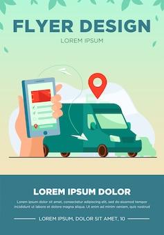 注文の配達を追跡するためにモバイルアプリを使用している顧客。スマートフォンと宅配バンを持った人間の手と上のマップポインター。 gps、ロジスティクス、サービスの概念のベクトル図