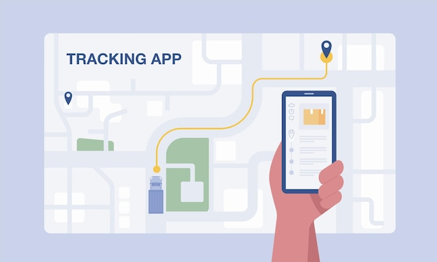 Customer using mobile app for tracking order delivery. vector illustration.