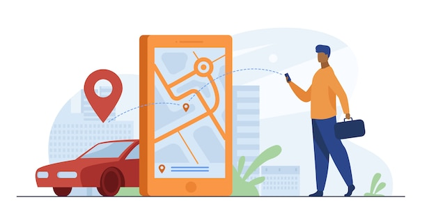 Клиент использует онлайн-приложение для заказа такси или аренды автомобиля