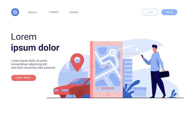 Cliente che utilizza l'app online per ordinare un taxi o noleggiare un'auto