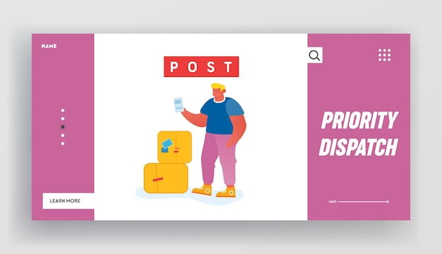 Customer visiting post office website landing page.