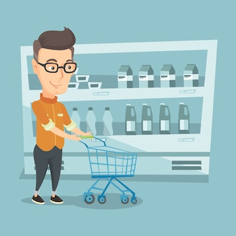 Customer with a shopping cart vector illustration.