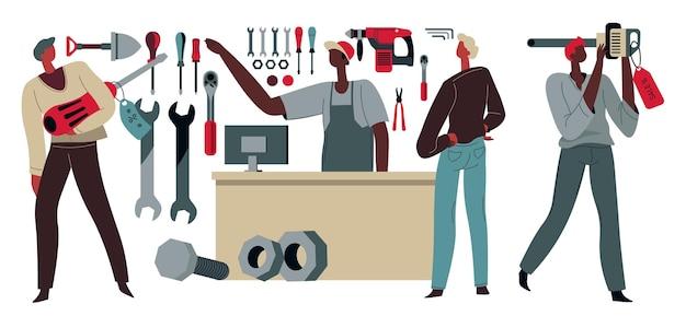 作業用工具を購入する工具店の顧客とクライアント。ビルダー向けの楽器を扱うスーパーマーケット。ショーケースで品揃えを示す売り手、フラットスタイルで男らしい製品のベクトルを持つ男性