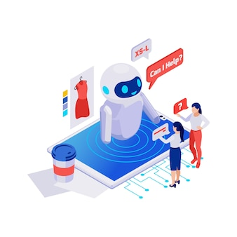 Customers asking questions to online shop chatbot 3d isometric