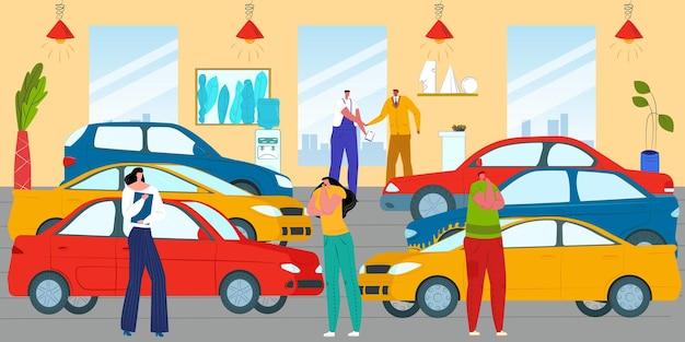 Customers at car showroom vehicle automobile illustration