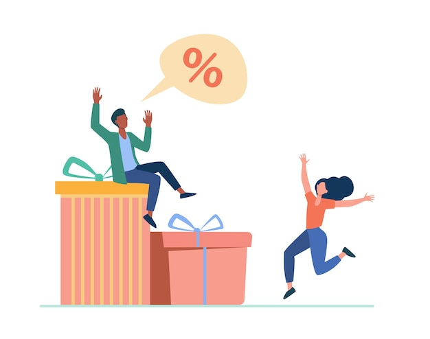 Customers celebrating discount season. couple dancing at gift boxes, percent sign flat illustration.