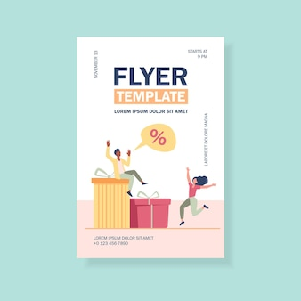 Customers celebrating discount season flyer template