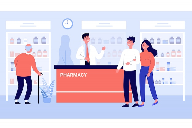 Customers consulting pharmacist in drugstore