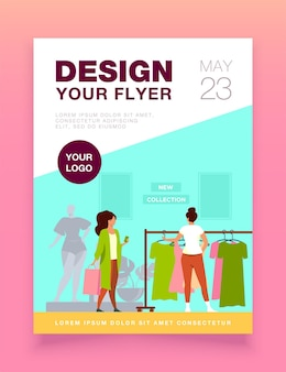Customers in fashion shop flyer template