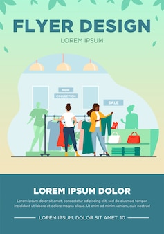 Customers in fashion shop. women choosing clothes in store flat vector illustration. shopping, sale, retail concept for banner, website design or landing web page