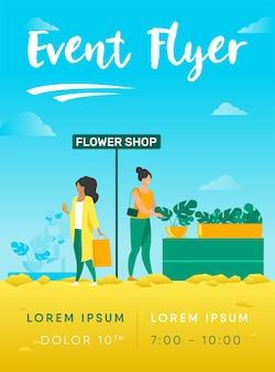 Customers in flower shop flyer template