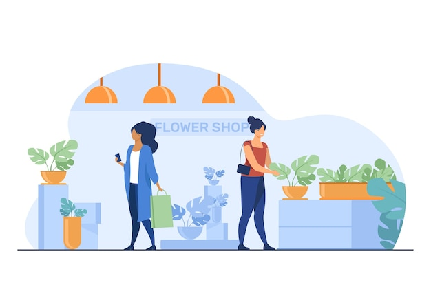 Customers in flower shop. women with bags choosing houseplants flat vector illustration. shopping, greenhouse, home plants concept